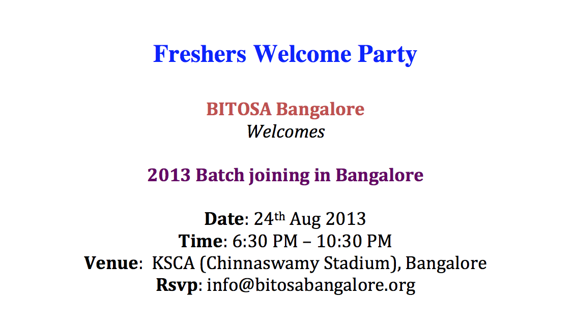 Book BITOSA Freshers Welcome Party tickets, Bangalore | Explara.com